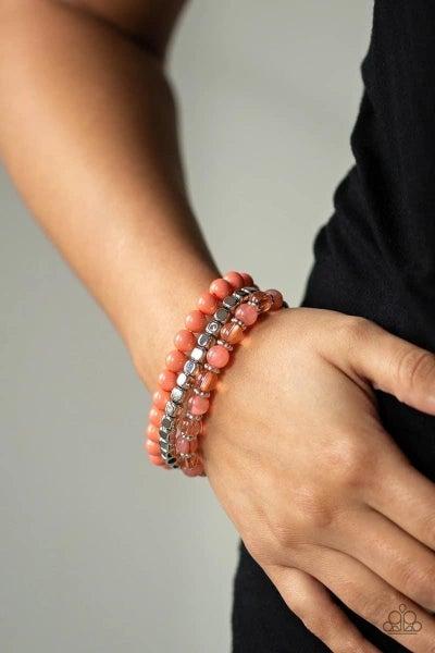 Globetrotter Glam - Orange Stretchy Bracelet