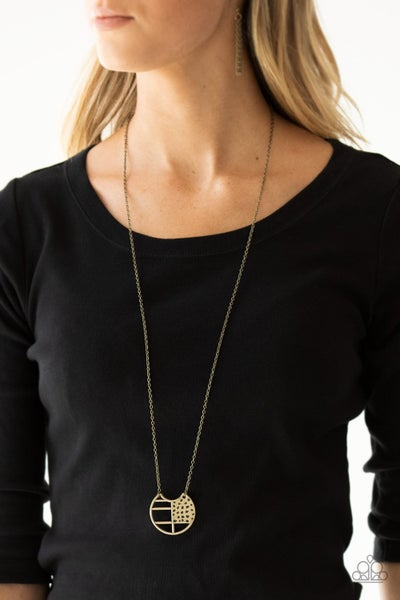 Abstract Aztec - Brass Necklace