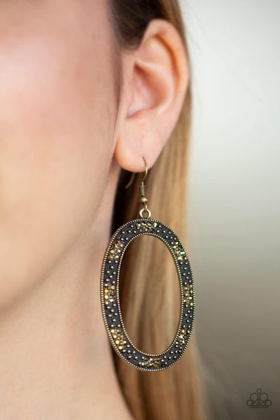 Rhinestone Rebel - Brass Earrings
