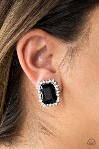 Insta Famous - Black Clip-On Earrings