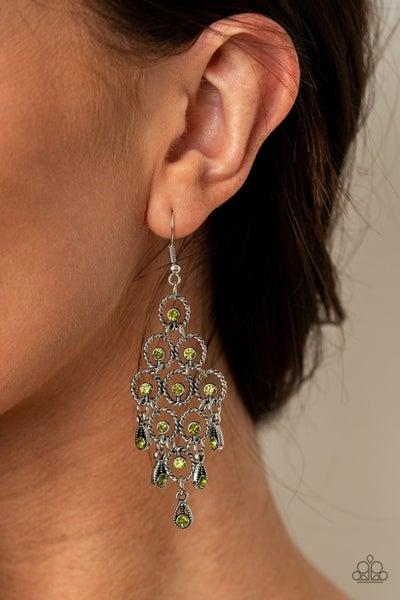 Chandelier Cameo - Green Earrings