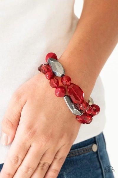 Rockin Rock Candy - Red/Gunmetal Stretchy Bracelet