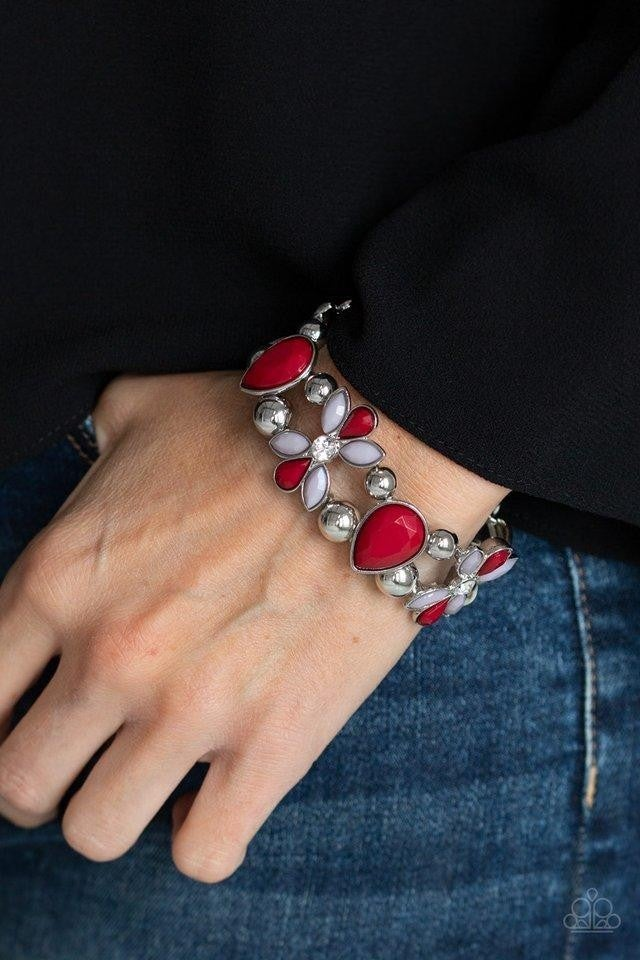 Fabulously Flourishing - Red Stretchy Bracelet