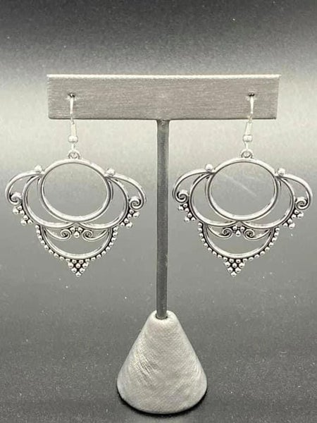 Metallic Macrame - Silver Earrings