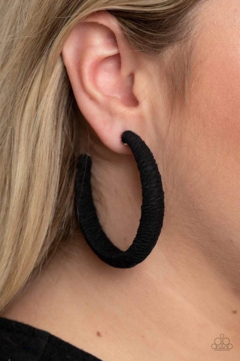 TWINE and Dine - Black Hoop Earrings