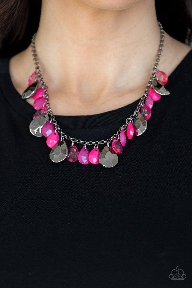 Hurricane Season - Gunmetal/Pink Necklace