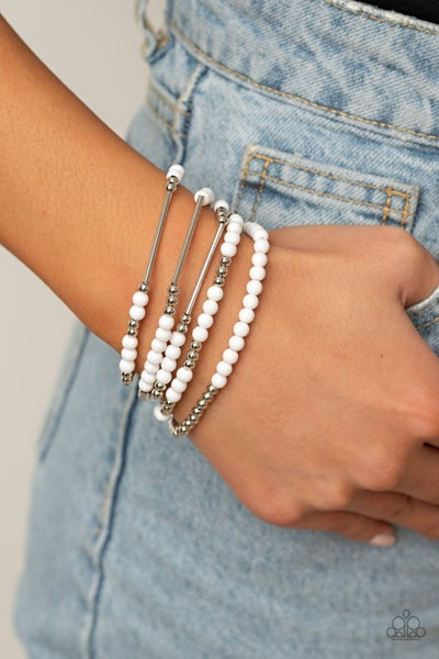 BEAD Between The Lines - White Stretchy Bracelet
