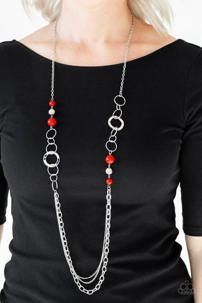 Modern Motley - Red Necklace