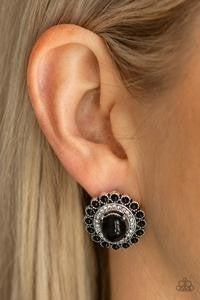 Floral Flamboyance - Black Earrings