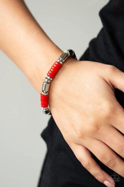 Whimsical Wanderer - Red Stretchy Bracelet