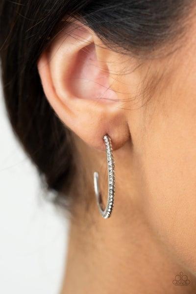 Don't Think Twice - White Hoop Earrings