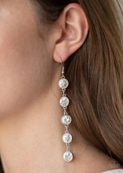Trickle Down Twinkle - White Earrings