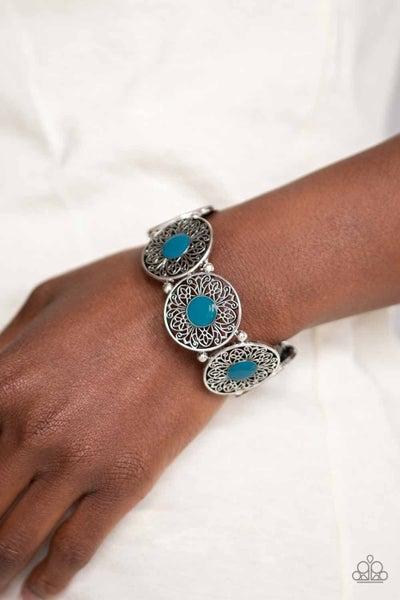 Painted Garden - Blue Stretchy Bracelet