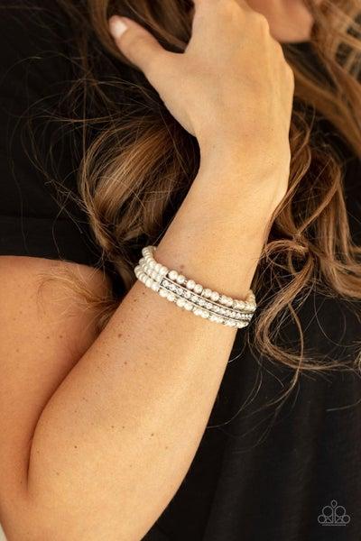 Vintage Beam - White Stretchy Bracelet