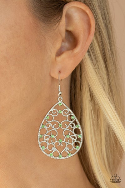 Midnight Carriage - Green Earrings
