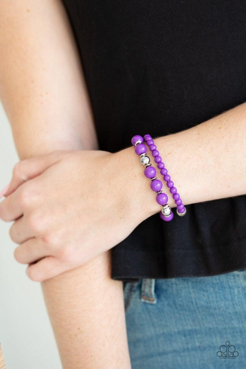 Colorful Collisions - Purple Stretchy Bracelet