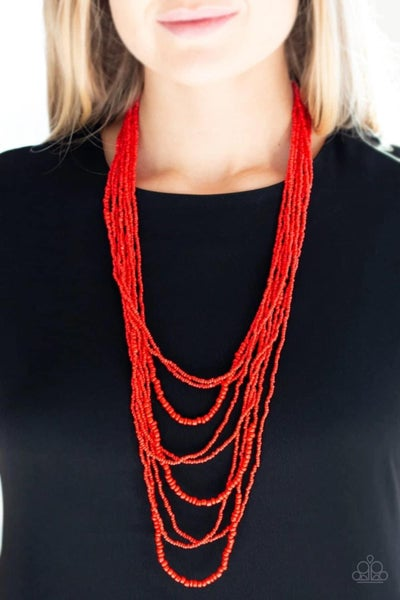 Totally Tonga - Red Seed Bead Necklace