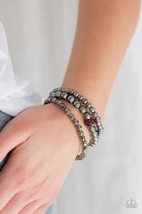 Noticeably Noir - Gunmetal Stretchy Pink Bracelet