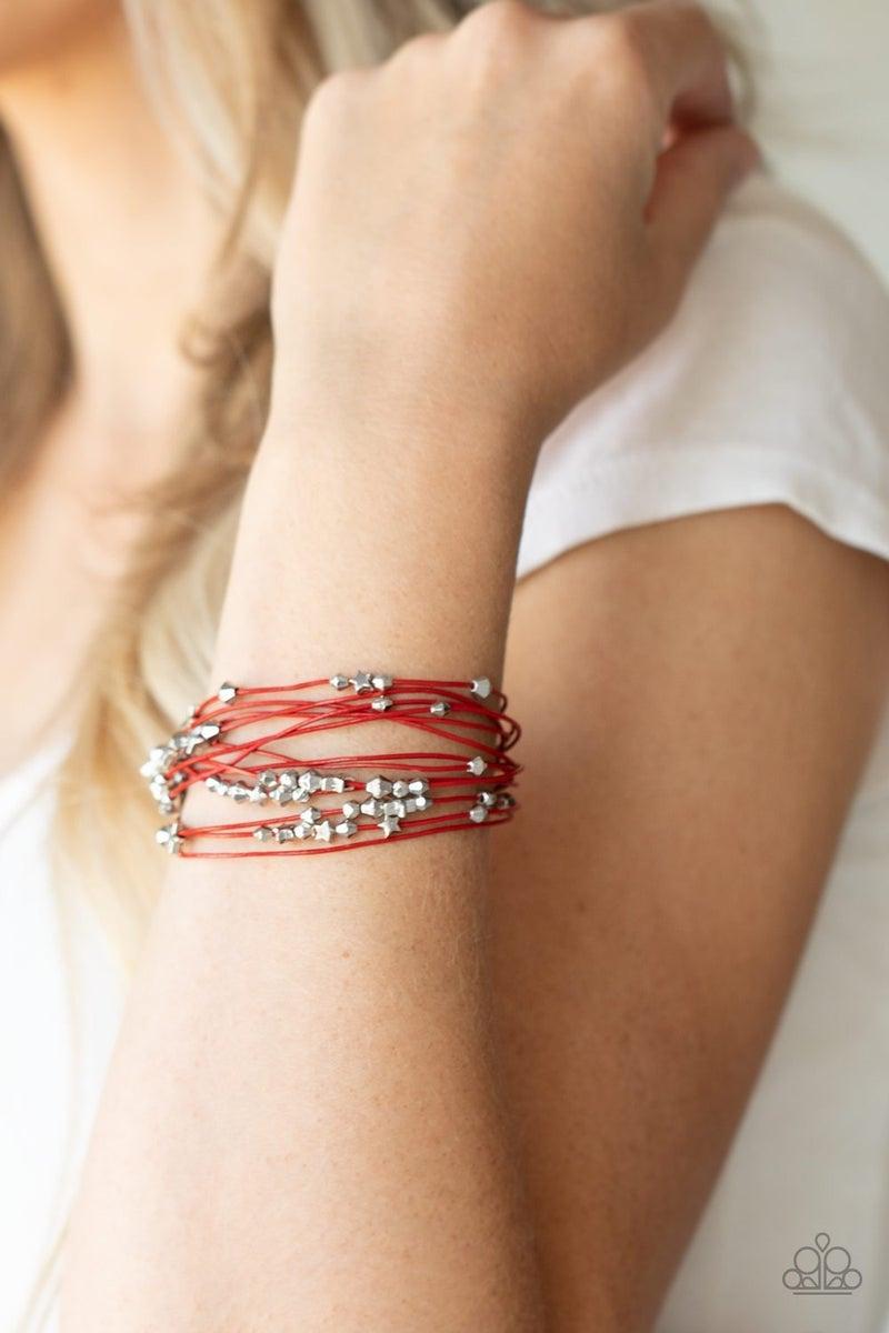 Star-Studded Affair - Red Magnetic Bracelet