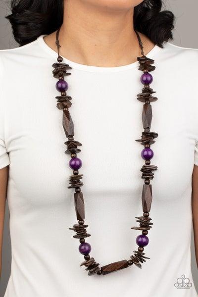 Cozumel Coast - Purple Wooden Necklace