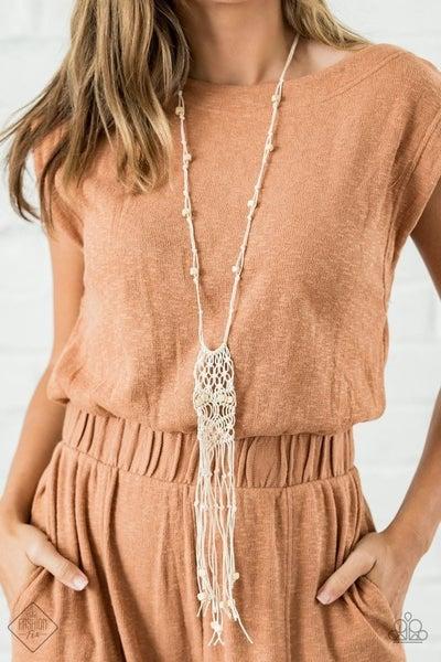 Macrame Majesty - White Necklace - November 2020 Fashion Fix