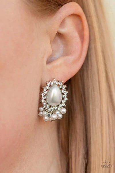 Castle Cameo - White Earrings