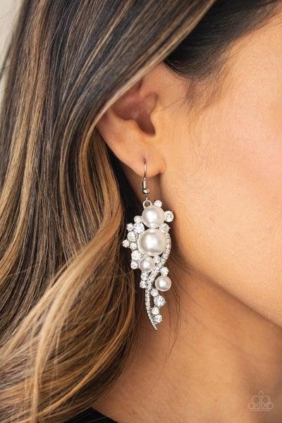 High End Elegance - White Earrings