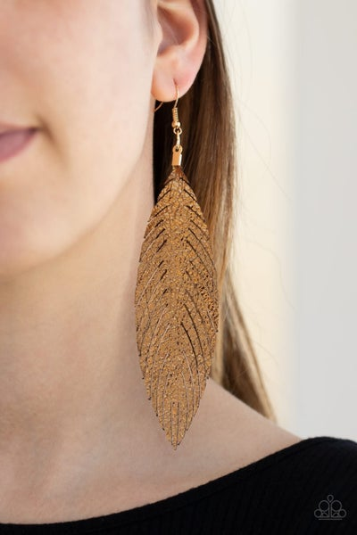 Feather Fantasy - Gold Earrings