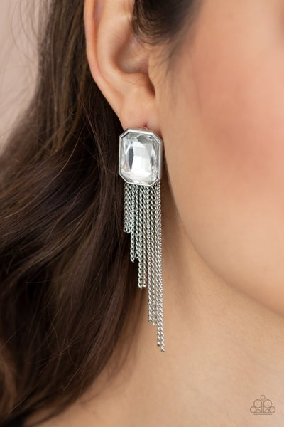 Save for a REIGNy Day - White Earrings