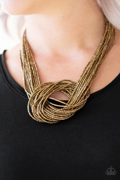 Knotted Knockout - Brass Seed Bead Necklace