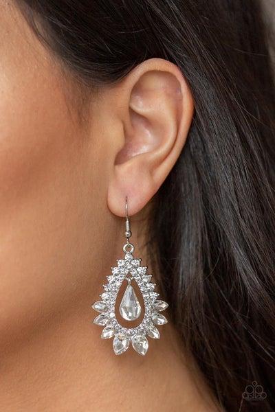 Boss Brilliance - White Earrings