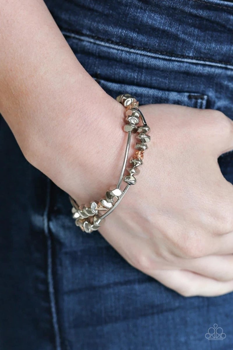 Get The GLOW On The Road - Brown Stretchy Bracelet