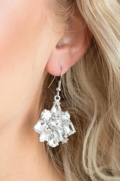 Fiercely Famous - White Earrings