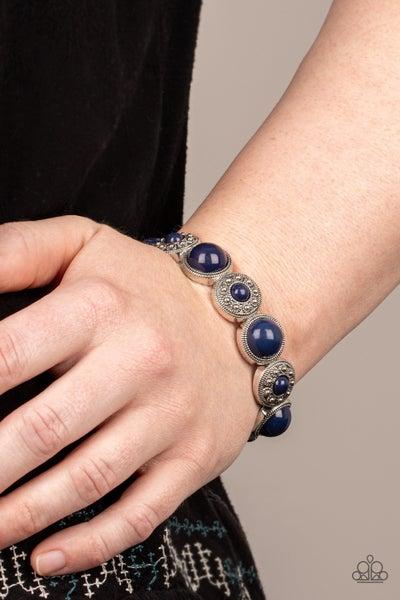Garden Flair - Blue Stretchy Bracelet