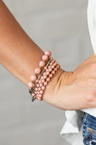 Vibrantly Vintage - Pink Stretchy Bracelet