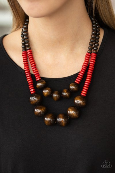 Cancun Cast Away - Red Wooden Necklace