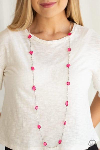 Glassy Glamorous - Pink Necklace