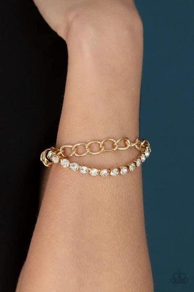 Glamour Grid - Gold Stretchy Bracelet