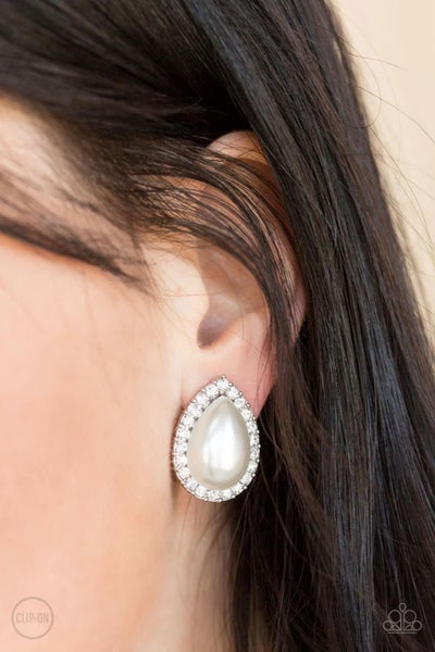 Old Hollywood Opulence - White Clip-On Earrings