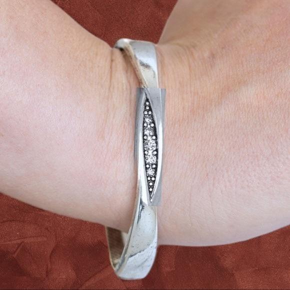 Glittering Grit - White Hinged Bracelet