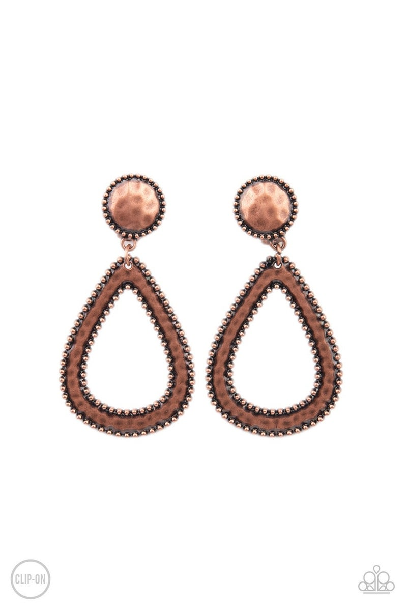 Beyond the Borders - Copper Clip-On Earrings