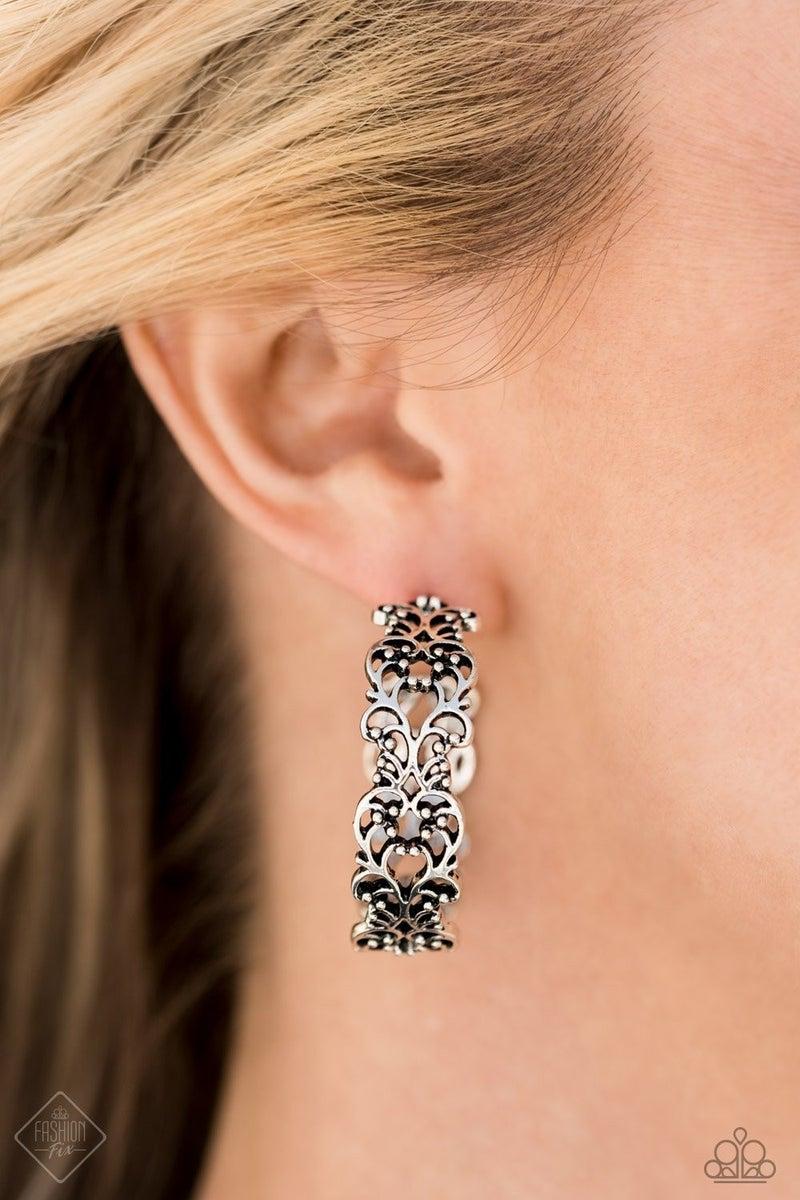 Laurel Wreaths - Silver Hoop Earrings