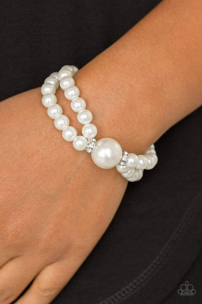 Romantic Redux - White Stretchy Bracelet