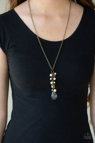 Teardrop Serenity - Brass Necklace