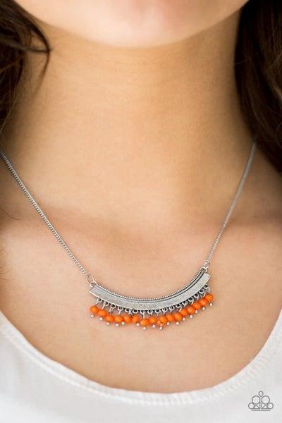 Fringe Fever - Orange Necklace