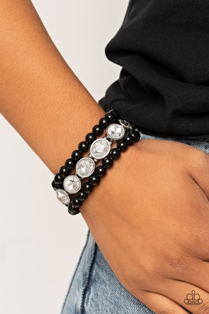 Flawlessly Flattering - Black Stretchy Bracelet