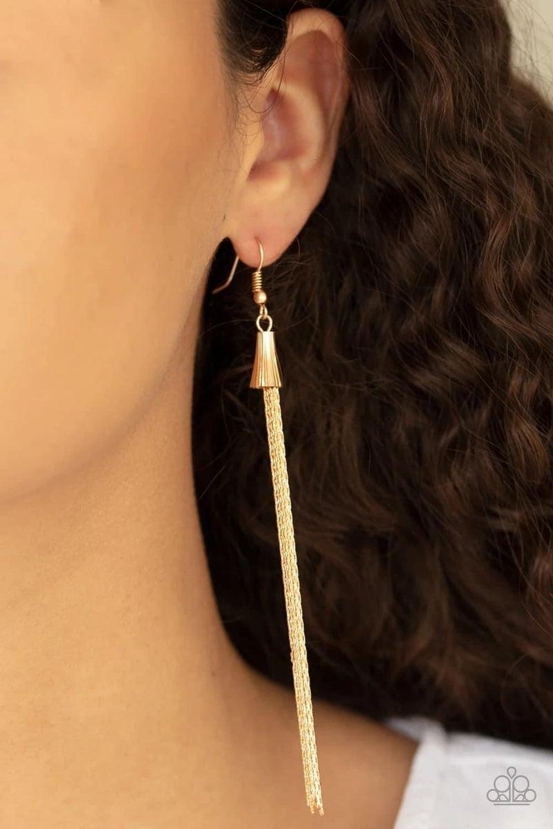 Shimmery Streamers - Gold Earrings