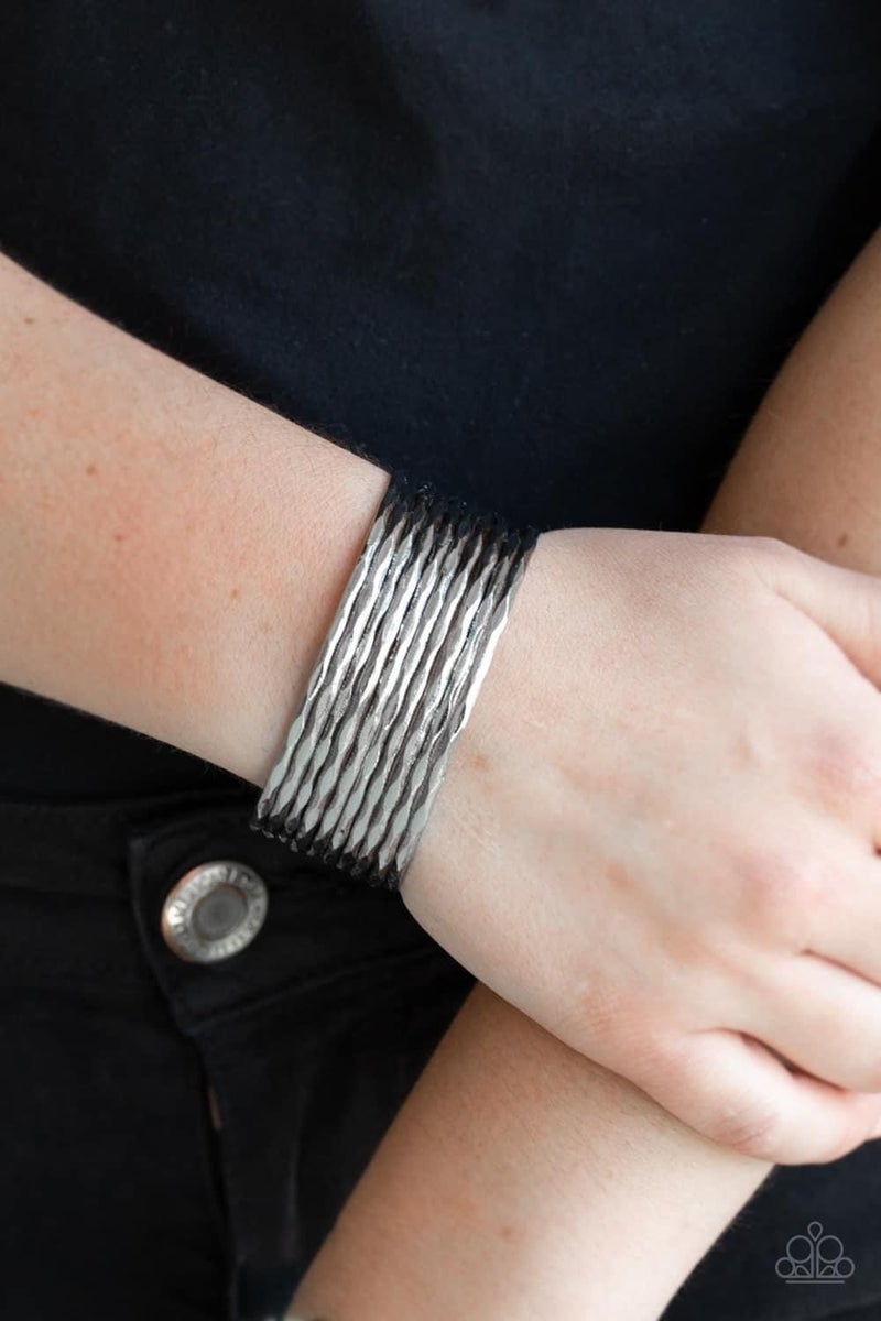 Stacked Shimmer – Silver Cuff