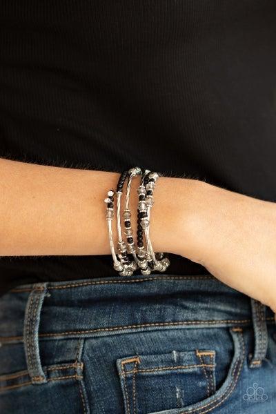 Head-Turning Twinkle - Black Coil Bracelet