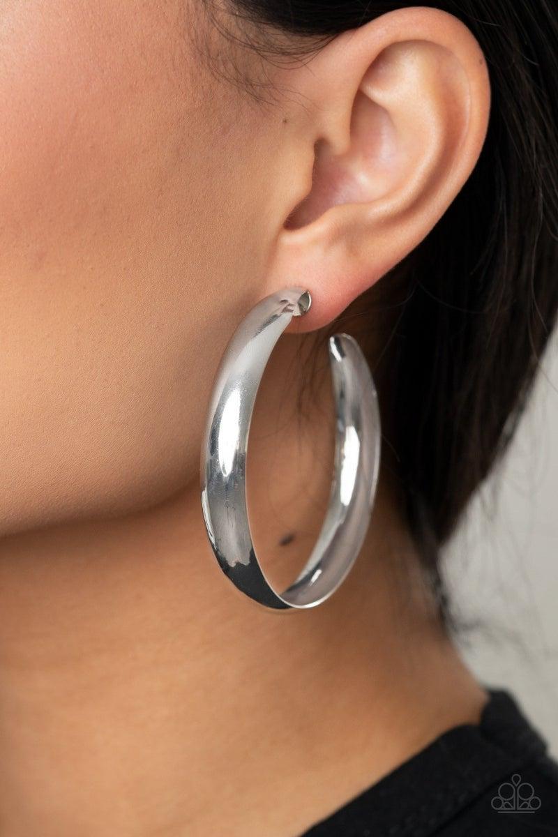 BEVEL In It - Silver Hoop Earrings